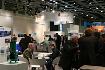 The visitors found many innovations for the German water sector at the GWP joint booth. (Source: GWP)