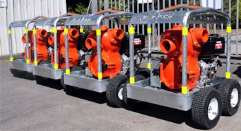 "Production run of Aussie Mine Boss heavy duty 4"" trash pumps set up for mobile use on site.  The pumps come with optional chocks or brake systems as required (Image: Australian Pump Industries)"