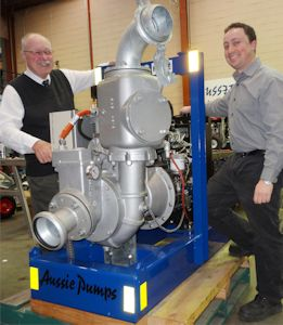 Aussie Pump's Chief Engineer, John Hales (left) and Project Engineer Jeremy Skelton show off the new Auto-Prime pump designed to deliver a breakthrough in efficiency and cost. (Image: Aussie Pumps)