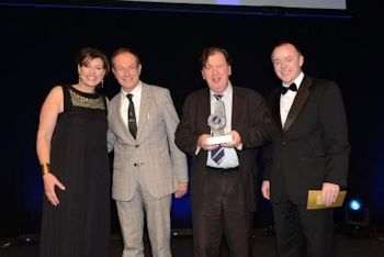 From left to right, Kate Silverton, host of the awards, Pascal Pipyn, GWE EVP Process and R&D, Jean Pierre Ombregt, GWE Chairman and CEO and a representative from PM Group, who sponsored the Energy Award (Image: Global Water Engineering)