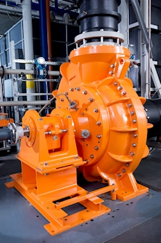 The Mega Mammut radial centrifugal pump can handle up to 5,000 cubic metres of aggressive fluids at a head of up to 40 metres. (Image: Munsch Chemie-Pumpen GmbH)
