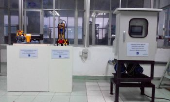 From left: The water supply unit, land pump cut model, and submersible pump cut model donated by Ebara (Image: Ebara Corporation)