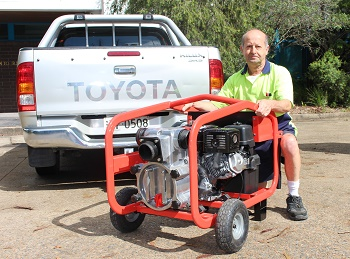 Aussie's Joe Attard with the Aussie QP3TI, an innovative driverless pump. (Image: Aussie)