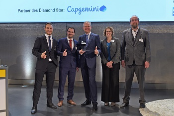 "The ""Diamond Star"" innovation prize, awarded by the trade journal and Cap Gemini, went to BOGE on 09/11/2017 (Image: Boge)"