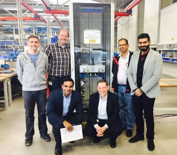 The Auma team and representatives of Shell Oman Marketing SAOG in front of a SIMA master station, following successful factory acceptance tests at Auma's manufacturing facilities in Wenden, Germany (Image: Auma)