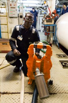Pump used on world's largest civilian hospital ship (Image: MercyShips, credit: Shawn Thompson)