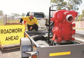 "Aussie's 6"" pump to the rescue!  It's self priming with a lift to 7.6 metres (Image: Aussie Pumps)"