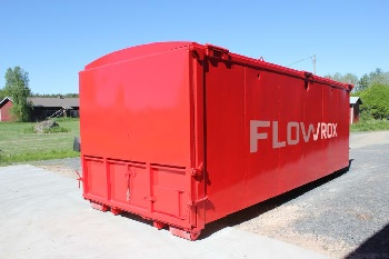 Flowrox GeoBag all-in-one roll-off geotextile filtration and dewatering unit. (Image: Flowrox)