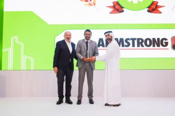 Pictured (left to right) are Mr. Albert Aoun, Chairman of IFP Group, Mr Rajmohan Govindarajan of Armstrong Fluid Technology and Mr. Ali Jasim, CEO of Etihad Esco at the RetrofitTech2018 Awards (Image: Armstrong)