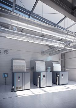 The new GA 90+-160 VSD+ oil-injected screw compressor range from Atlas Copco provides reduced energy consumption, straightforward installation and simple service (Image: Atlas Copco)