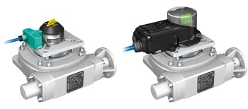 The basic version (left) and  the premium version (right) of Auma's new end-position sensor system for GS .3 part-turn gearboxes. (Image: AUMA)