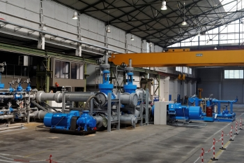 Klaus Union carries out tests on its pump test bed with displacement volumes of up to 5,000 cubic meters per hour and pressures up to 100 bar. (Image: Siemens/Klaus Union)