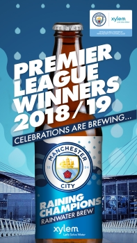 Limited Edition of Celebration Beer Made with Purified Rainwater Collected at City's Etihad Stadium (Image: Xylem, Manchester City, Heineken Manchester)