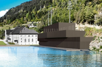A visualization of the new storage power plant Ritom in Switzerland. (Image: SBB)