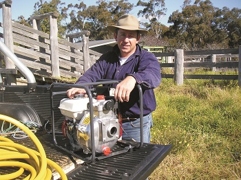 Stuart Marshman has protected his farm with an Aussie Fire Chief for over a decade. (Image: Aussie Pumps)