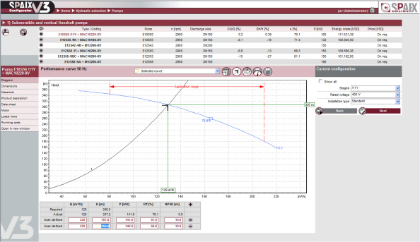 Spaix V3: Software for selection, calculation and quote generation of centrifugal pumps on the Internet.