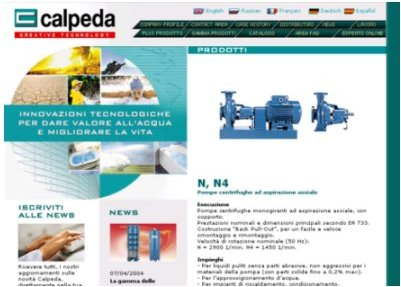 The Calpeda Web Site with a Brand New Look