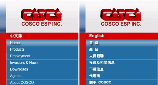 COSCO Publishes Chinese Web-Site