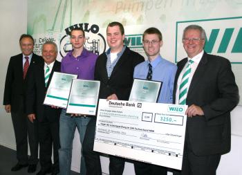Wilo zeichnet jahrgangsbeste Absolventen des Fachverbandes SHK NRW mit dem SHK- Förderpreis 2011 aus