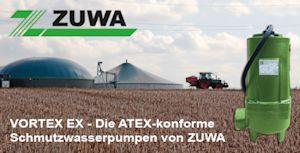 ATEX-konforme Schmutzwasserpumpen für Biogasanlagen von Zuwa