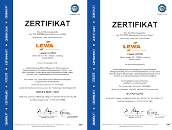 Lewa vom TÜV zertifiziert