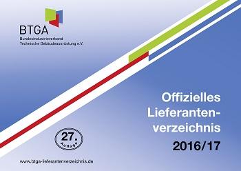 BTGA: Offizielles Lieferantenverzeichnis 2016/17 erschienen