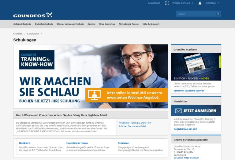 Grundfos bietet zusätzliche Online-Schulungen an Stelle von Präsenzseminaren an