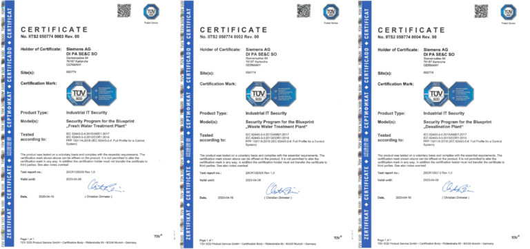 TÜV Certifications for Siemens Process Control Systems in the Water and Waste Water Industry