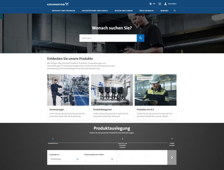 Neue Grundfos Website mit schneller, einfacher Nutzung