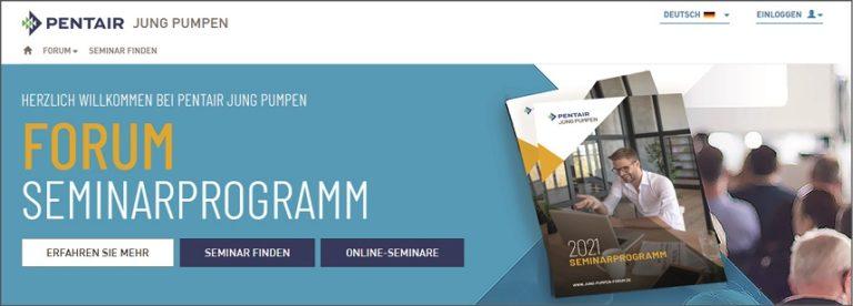 Pentair Jung Pumpen veröffentlicht Seminarprogramm 2021