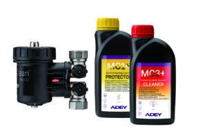 Adey bietet Komplett-Sets zur Reinigung und Behandlung von Anlagenwasser