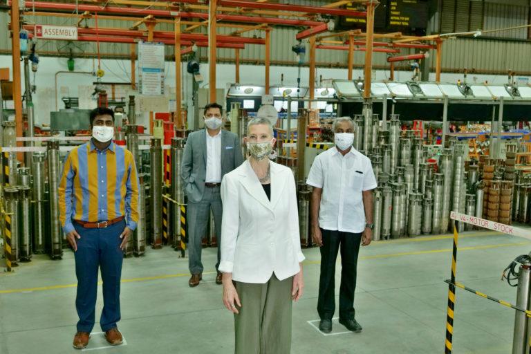 U.S. Consul General Judith Ravin Visits EKKI Pump Factory at Coimbatore